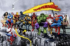 More Marvel & DC Superheroes Lunch Atop A Skyscraper - New art, more heroes! - Art Print/Poster Wall Art by AvenellArt on Etsy Superhero City, Superhero Poster, Superhero Canvas, Avengers Poster, Superhero Room, Superhero Characters, Marvel Canvas, Marvel Wall Art, Lady Shiva