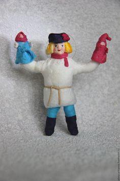 """Купить Ёлочные игрушки из ваты, серия """"Ярмарка"""" - комбинированный, ватная елочная игрушка, елочная игрушка"""