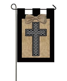 Look what I found on #zulily! Burlap Cross Outdoor Flag #zulilyfinds