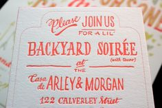 """""""Please Join Us for a Lil' Backyard Soiree (with Tacos)"""" - love the wording, wish I would've seen this before."""