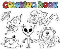 its a space aliens coloring page for kids