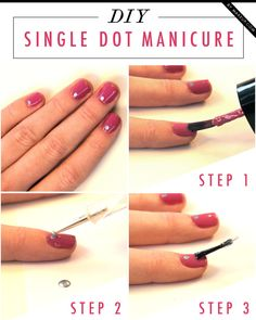 DIY the single dot manicure. Get the look in 3 simple steps! All you need is two nail colors, a dotting tool, and top coat. We used Lancôme Vernis in Love in Violette Coquette and essie Blue Rhapsody. This is a great manicure to keep on hand for any occasion!