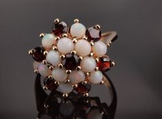 Garnet Opal Cluster Ring 1971 Vintage in 9k by BelmontandBellamy