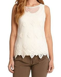 CREAM EMBROIDERED TANK TOP Diamond embroidery and sheer feminine fabric fuse together on this summer perfect tank from Karen Kane. #Karen_Kane #Cream_Lace #Embroidery #Summer_2014 #Fashion