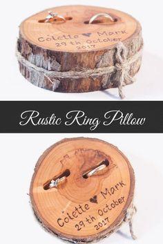 Coussin rustique, tranche de bois de mariage, boîte à bagues rustique, mariage en ... ,  #bagues #boite #coussin #mariage #rustique #tranche
