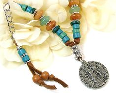 Celebrating the Catholic patron saint of ecology! St. Francis of Assisi & #Wolf Medallion Beaded #Leather #Necklace, Pewter and Greek Ceramic Beads, Agate & Green Aventurine by #PrettyGonzo #Jewelry - #Boho #StFrancis #spiritual #nature #ecology