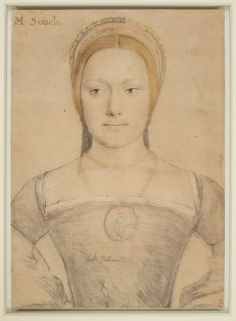 A portrait drawing of a woman, possibly Mary Zouch, who served as a lady-in-waiting to Queen Jane Seymour. A bust length portrait facing to the front. She wears a necklace and medallion, and holds a flower. Annotated by the artist on the bodice: black felbet (black velvet). Inscribed in an eighteenth-century hand at upper left: M Souch. Annotated by the artist on the bodice: black felbet (black velvet).The inscription possibly identifies the sitter as Mary Zouch, who became lady-in-waiting…