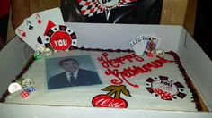 Casino Vegas themed cake  The cake was all white with red & black cake frosting border. I added everything