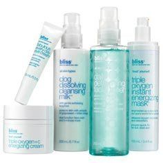 The Bliss Face-Freshening Fivesome by Bliss. $131.60. recreate our spa's triple oxygen treatment™ with this deluxe spa-at-home 'all-out' setSpoil yourself silly and simulate the skin-reviving results of our spa's #1 facial at home with this complete regimen of glow-getters. Our everyday skincare stars team up with our oxygen-infused bestsellers to take your reflection from drab to fab, and let you totally pamper yourself in the process.Includes full sizes of:
