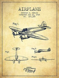 Airplane Patent Drawing From 1938-vintage Poster By Aged Pixel #vintageposters