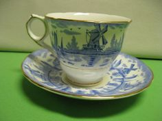 Tea Cup and Saucer Royal Stafford Bone by hazeleyesartglassetc