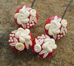 Red with Ivory Cameo Roses...