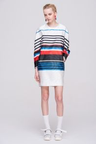 Front Row Shops Color Block Dress in Stripes Print