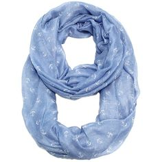 By the sea tiny anchor infinity scarf  blue sky ($19) ❤ liked on Polyvore featuring accessories, scarves, blue scarves, tube scarves, loop scarves, infinity loop scarves and round scarves