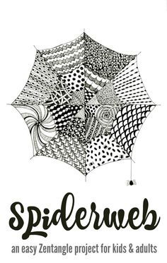 An easy Zentangle for kids & adults that also works as a striking Halloween art project. These spiderweb Zentangles can be adapted for a wide range of ages.
