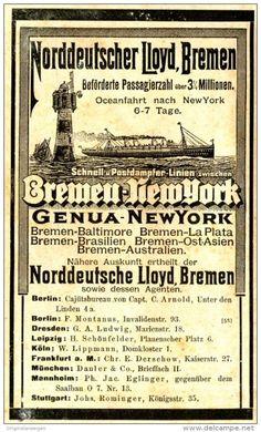 Original-Werbung/ Anzeige 1897 - NORDDEUTSCHER LLOYD BREMEN / BREMEN - NEW YORK…