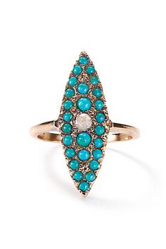 Turquoise and Diamond Grande Navette Ring in 14k Rose Gold