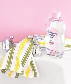 Baby oil, a cloth and faucet  Forget keeping skin soft, baby oil also polishes chrome. Apply a dab to a cotton cloth and use it to shine everything from faucets to hubcaps. You'll end up with shiny, happy surfaces from a medicine-cabinet staple. (Who actually owns chrome cleaner, anyway?)