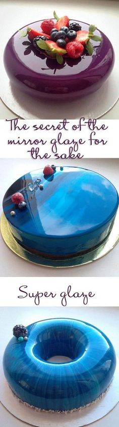 The secret of the mirror glaze for the cake: Gelatin 12 g Sugar 150 g 75 g water 150 g of glucose syrup or corn syrup 150 g of white chocolate 100 g of condensed milk food coloring