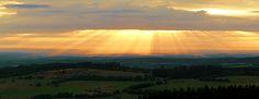 Sunset on the Hoherodskopf in the Vogelsberg Mountains in Hesse