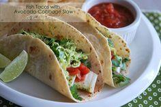 Fish Tacos with Avocado-Cabbage Slaw