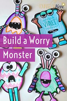 Build a worry monster! Help kids manage worries with this worry group counseling curriculum. These worry activities are perfect for elementary school counseling groups. These worry activities for kids will help students understand worry and build coping skills to deal with their worry. These activities are perfect for individual counseling sessions or small group counseling sessions to help kids manage worry. -Counselor Keri
