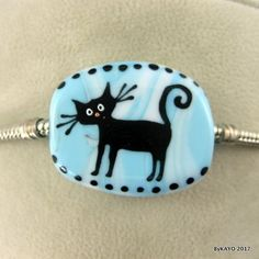 BLACK JACK byKAYO a handmade KITTY CAT lampwork glass charm BRACELET bead SRA #Lampwork