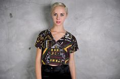 vintage crop top, 1990's tribal southwestern printed boxy cropped t shirt,