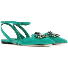 Dolce & Gabbana Bellucci Embellished Suede Sandals ($990) ❤ liked on Polyvore featuring shoes, sandals, green, embellished shoes, decorating shoes, green shoes, dolce gabbana shoes and embellished sandals