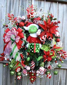 Grinch Christmas Prelit Wreath, Peppermint lights, by IrishGirlsWreaths, $175.00- *SOLD!*