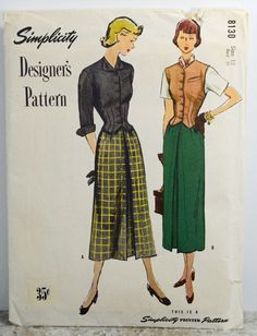 Vintage 1950s Simplicity Designer Pattern 8130 Weskit and Skirt Size 12 UNCUT #Simplicity