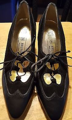 136dd147514 Bruno Magli pumps wingtips made in ITALY black size 6-B leather  suede laces