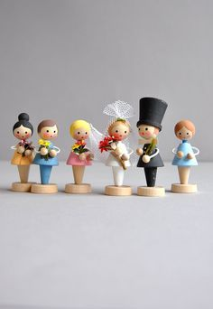 Teeny Tiny Wedding Party Erzgebirge Set of 6 by MisterTrue Wooden Pegs, Wooden Dolls, Clothespin Dolls, Antique Toys, Engagement Gifts, Wedding Cake Toppers, Craft Fairs, Dollhouse Miniatures, Art Dolls