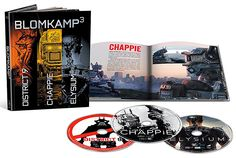 Blomkamp³ Limited Edition Blu-ray Collection  Sci-Fi auteur Neill Blomkamp is the director behind the droids and destruction in the near-future film Chappie as well as District 9, & Elysium. This new box-set contains all 3 films in widescreen Blu-ray plus an included digibook.