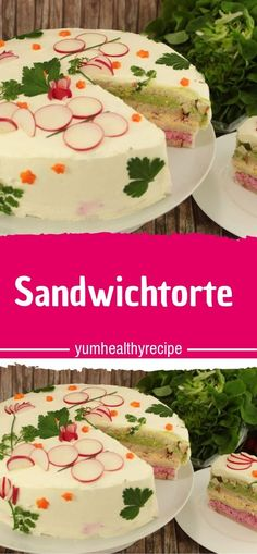 Sandwich cakes - What do you need? 800 grams of natural cream cheese 400 grams of herb cream cheese 1 white bread or - Mini Sandwiches, Finger Sandwiches, Finger Food Appetizers, Finger Foods, Appetizer Recipes, Sandwich Torte, Fingerfood Party, Snacks Für Party, Ron