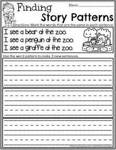 Kindergarten Writing Worksheets - Finding Story Patterns pg 1 #planningplaytime #kindergartenworksheets #writingworksheets #kindergartenwriting #planningplaytime #kindergartenworksheets #writingworksheets #kindergartenwriting
