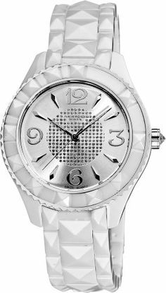 Akribos XXIV Women's AK533WT Ceramic Pyramid Cutting Stones Watch Akribos XXIV. $177.45. White ceramic case with a stainless steel bezel. White ceramic pyramid cut bracelet. Water-resistant to 10 M (33 feet). Precise Swiss quartz movement. Center of the dial is adorned with crystals. Glossy white dial with silver-tone hour markers. Save 79% Off!