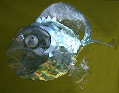 recycled cd fish art | Recycled Art Part made of plastic bottles and CDs Fish Globe 2