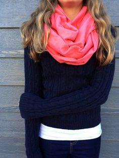 Navy and Pink sweater weather outfit