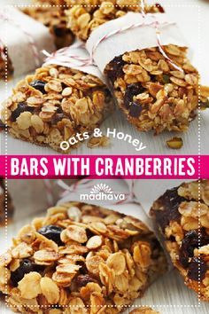 Oats & Honey Bars with Cranberries | Madhava