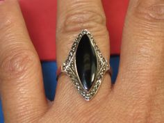 C-154 Vintage Ring 925 silver  size 7 black onyz stone by HipTrends2015 on Etsy