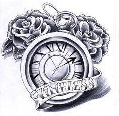 Clock with wings and roses