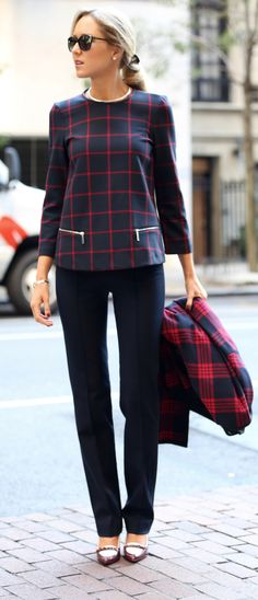 The Classy Cubicle: Plaid on Plaid. The fashion blog for professional women in need of office style inspiration and work wear ideas for the corporate world and beyond. {zara, tory burch, prada, plaid zipper top, cape jacket, navy pants, spectator burgundy pumps, fall fashion}