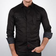 Printed Cuff Dress Shirt Black  by MYN