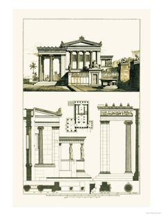 Architectural Drawing Design The Erechtheum at Athens - Architectural Drawings of Renaissance Architecture Pavilion Architecture, Architecture Drawings, Classical Architecture, Architecture Plan, Historic Architecture, Contemporary Architecture, Ancient Greek Architecture, Renaissance Architecture, Victorian Architecture
