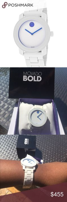 Movado Bold White with blue accents. I have the tag and the box. 100% Authentic. Movado Accessories Watches
