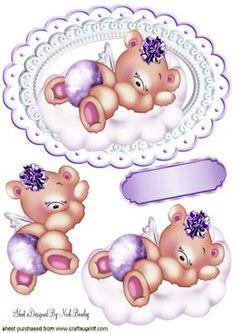 LITTLE SLEEPY GIRL TEDDY BEAR ON A CLOUD on Craftsuprint - Add To Basket!