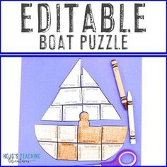 EDITABLE Boat Puzzle | Create a Craft, Activities, or Review ANY Topic! |  1st, 2nd, 3rd, 4th, 5th, 6th, 7th, 8th grade, Activities, English Language Arts, Fun Stuff, Games, Homeschool, Math