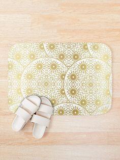 'Mystical White Gold Design' Bath Mat by Shane Simpson Bath Mat Design, Bath Mats, Iphone Wallet, Mystic, White Gold, Retro, Prints, Stuff To Buy, Bags