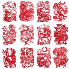 Online Shop 2015 Hot Sale Chinese Red Paper Zodiac Animal Paper-Cut , Pure Hand Made High Quality Red Rice Paper Material FreeShipping Chinese Design, Chinese Art, Chinese Culture, Paper Lace, Red Paper, Paper Flowers, Chinese Paper Cutting, Chinese Element, Chinese Patterns